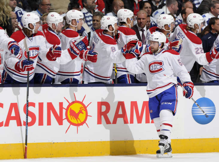 David Desharnais comemora gol (Foto por Graig Abel/NHLI via Getty Images)